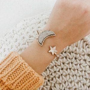 Jewelry - Moon star gold bangle adjustable OS druzy